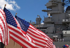 American flags on battleship